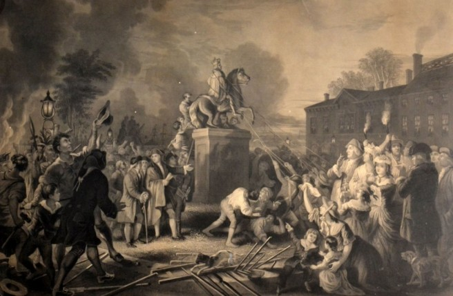 On July 9, 1776 an angry mob, incited by a public reading of the Declaration of Independence, pulled down a statue of King George III in Bowling Green Park in New York City. Its lead was melted down and molded into musket balls.
